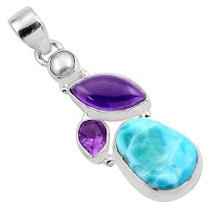 16.18cts natural blue larimar amethyst pearl 925 sterling silver pendant p88980