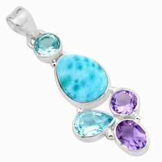 9.32cts natural blue larimar amethyst topaz 925 sterling silver pendant p66765