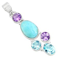 10.78cts natural blue larimar amethyst topaz 925 sterling silver pendant p71021