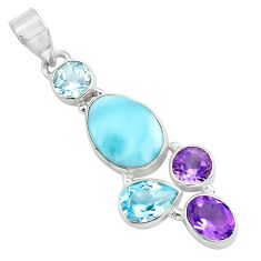 11.23cts natural blue larimar amethyst topaz 925 sterling silver pendant p71022