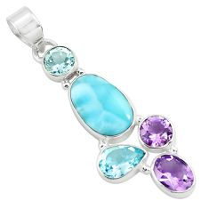 10.31cts natural blue larimar amethyst topaz 925 sterling silver pendant p71023