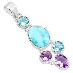 10.78cts natural blue larimar amethyst topaz 925 sterling silver pendant p71025