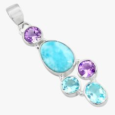 10.31cts natural blue larimar amethyst topaz 925 sterling silver pendant p71026