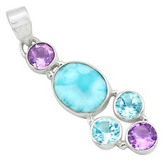 10.37cts natural blue larimar amethyst topaz 925 sterling silver pendant p71027