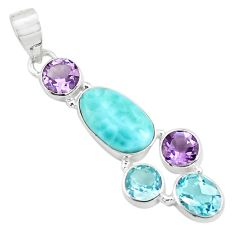 10.31cts natural blue larimar amethyst topaz 925 sterling silver pendant p71031