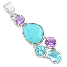 10.78cts natural blue larimar amethyst topaz 925 sterling silver pendant p71032