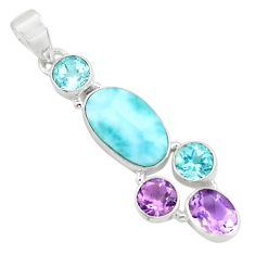 11.23cts natural blue larimar amethyst topaz 925 sterling silver pendant p71034