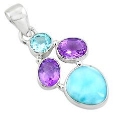 10.02cts natural blue larimar amethyst topaz 925 sterling silver pendant p71035