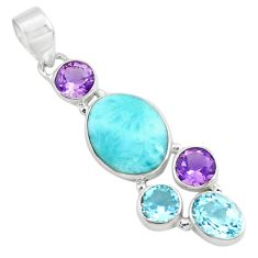 10.78cts natural blue larimar amethyst topaz 925 sterling silver pendant p71036