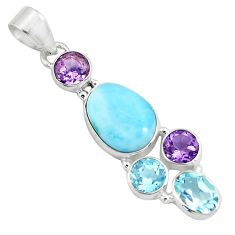 10.78cts natural blue larimar amethyst topaz 925 sterling silver pendant p71037