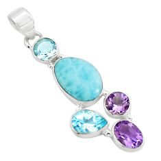 10.54cts natural blue larimar amethyst topaz 925 sterling silver pendant p71039