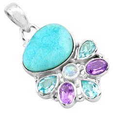 14.88cts natural blue larimar amethyst topaz 925 sterling silver pendant p72009