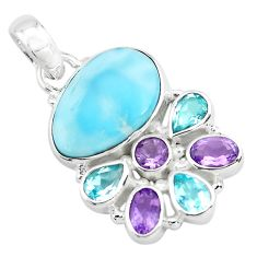 14.12cts natural blue larimar amethyst topaz 925 sterling silver pendant p72016