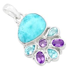 13.69cts natural blue larimar amethyst topaz 925 sterling silver pendant p72018