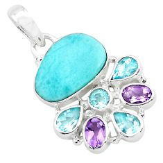 13.71cts natural blue larimar amethyst topaz 925 sterling silver pendant p72020