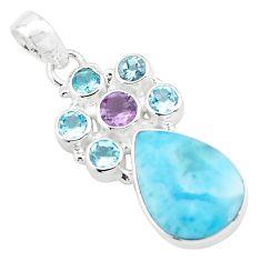 14.90cts natural blue larimar amethyst topaz 925 sterling silver pendant p74092