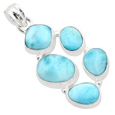 17.20cts natural blue larimar fancy 925 sterling silver pendant jewelry p38325