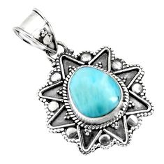 4.93cts natural blue larimar fancy 925 sterling silver pendant jewelry p71247