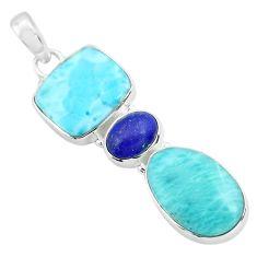 18.94cts natural blue larimar lapis lazuli 925 sterling silver pendant p72035