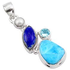 15.53cts natural blue larimar lapis lazuli 925 sterling silver pendant p88967