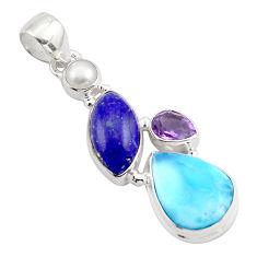 15.65cts natural blue larimar lapis lazuli 925 sterling silver pendant p88976