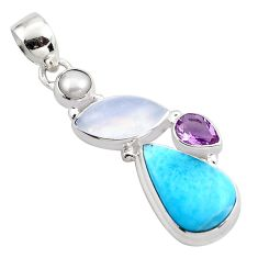 16.18cts natural blue larimar moonstone 925 sterling silver pendant p88965