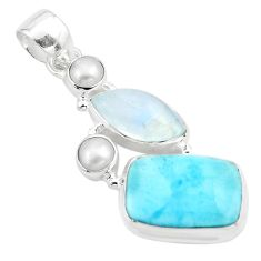 17.57cts natural blue larimar moonstone pearl 925 sterling silver pendant p80410