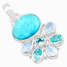 15.39cts natural blue larimar moonstone topaz 925 sterling silver pendant p74099
