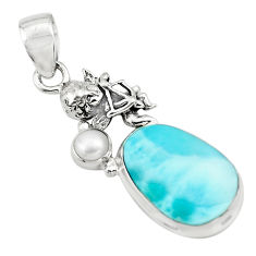11.89cts natural blue larimar pearl 925 silver cupid angel wings pendant p80427