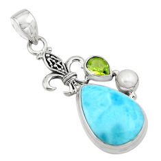 16.46cts natural blue larimar peridot 925 sterling silver pendant jewelry p80401