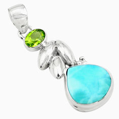 8.14cts natural blue larimar peridot 925 sterling silver pendant jewelry p80426