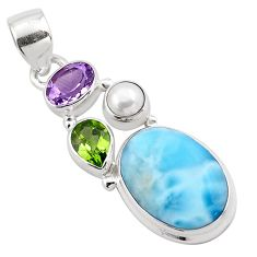 13.55cts natural blue larimar peridot 925 sterling silver pendant jewelry p88972