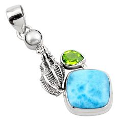 10.02cts natural blue larimar peridot 925 sterling silver pendant jewelry p88995
