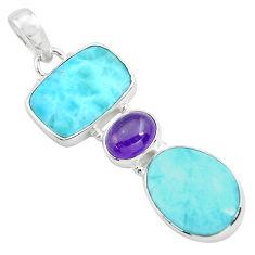 17.95cts natural blue larimar purple amethyst 925 sterling silver pendant p72022