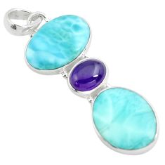 17.42cts natural blue larimar purple amethyst 925 sterling silver pendant p72033