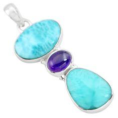 17.95cts natural blue larimar purple amethyst 925 sterling silver pendant p72040
