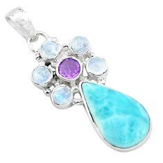 13.77cts natural blue larimar purple amethyst 925 sterling silver pendant p72067