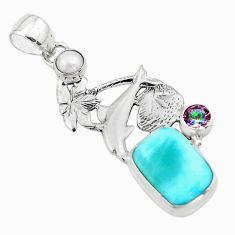 8.03cts natural blue larimar rainbow topaz 925 silver dolphin pendant p80424