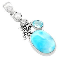 14.72cts natural blue larimar topaz 925 silver cupid angel wings pendant p80390