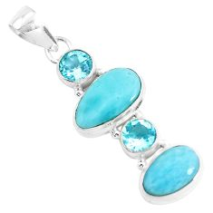 11.66cts natural blue larimar topaz 925 sterling silver pendant jewelry p47670