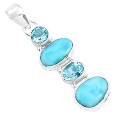 11.66cts natural blue larimar topaz 925 sterling silver pendant jewelry p47673