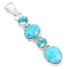 12.07cts natural blue larimar topaz 925 sterling silver pendant jewelry p47678