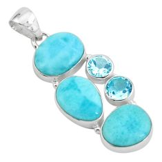 17.69cts natural blue larimar topaz 925 sterling silver pendant jewelry p66683
