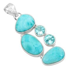 16.65cts natural blue larimar topaz 925 sterling silver pendant jewelry p66685