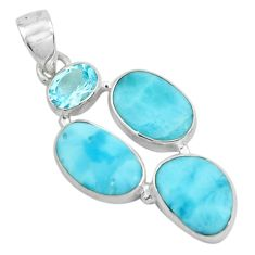 14.72cts natural blue larimar topaz 925 sterling silver pendant jewelry p66689
