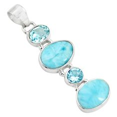 11.23cts natural blue larimar topaz 925 sterling silver pendant jewelry p71029