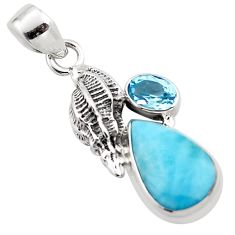 6.58cts natural blue larimar topaz 925 sterling silver pendant jewelry p88982