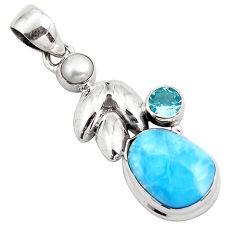 7.66cts natural blue larimar topaz 925 sterling silver pendant jewelry p88996