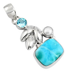 8.42cts natural blue larimar topaz pearl 925 sterling silver pendant p90326