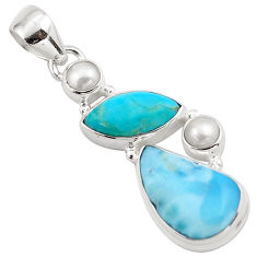 15.05cts natural blue larimar white pearl 925 sterling silver pendant p88968